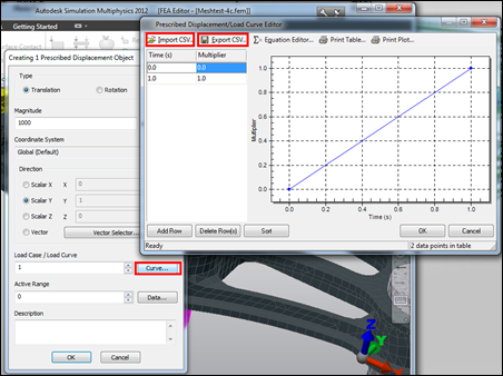 Autodesk Simulation 2012 Prescribed Displacement Load Curve