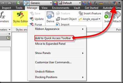 Autodesk Inventor Sheet Metal Rules Quick Access Toolbar