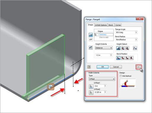 Autodesk Inventor 2013 Sheet Metal Flange Width Options