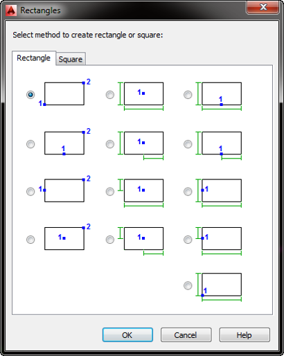 AutoCAD Mechanical Rectangles