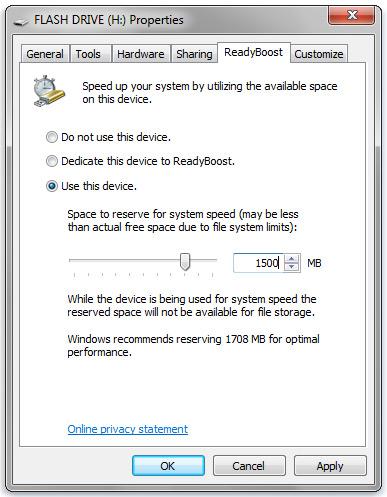Setting up Windows Readyboost