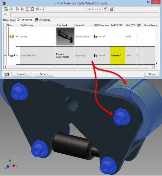 Autodesk Inventor 2015 BOM Row varies solution