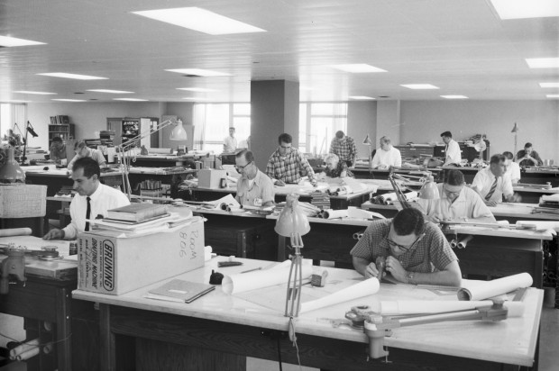 Engineering drafting room 1962