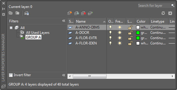 AutoCAD Layer Group Filter Example