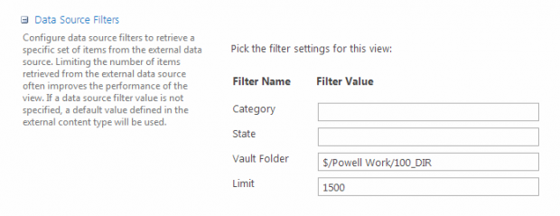 SharePoint Data Source Filters