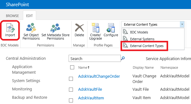 SharePoint External Content Types