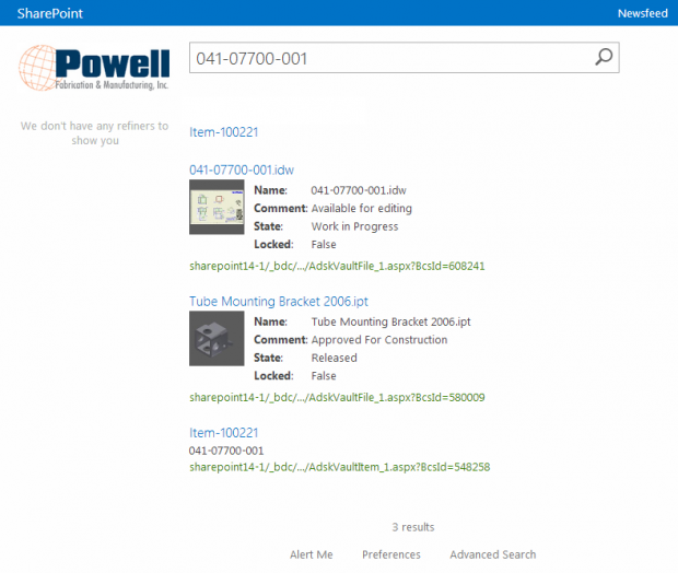Powell SharePoint Search Results