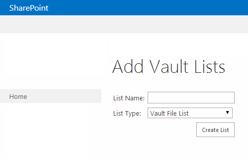 SharePoint Add Vault Lists