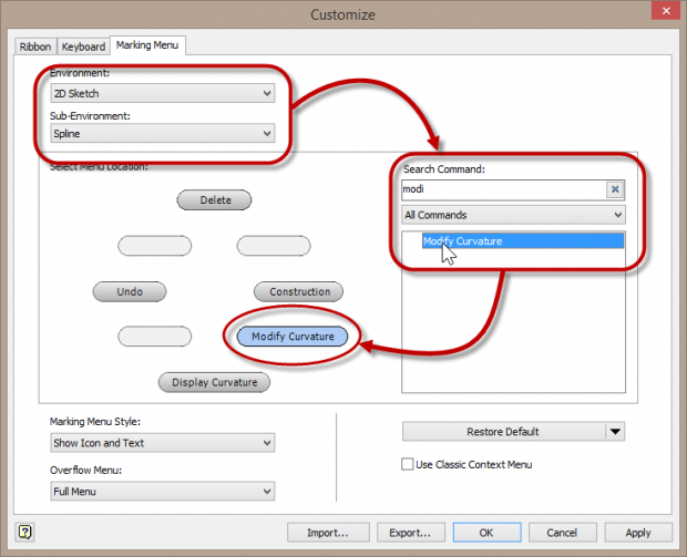 Autodesk Inventor 2014 add Modify Curvature to Marking Menu