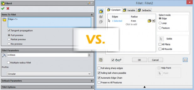SolidWorks 2014 vs Inventor 2015 Fillet dialog