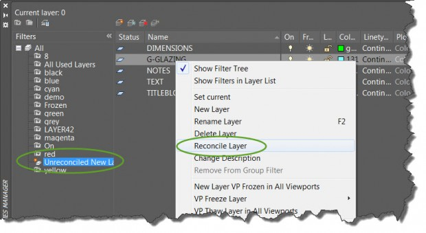 AutoCAD Reconcile Layer