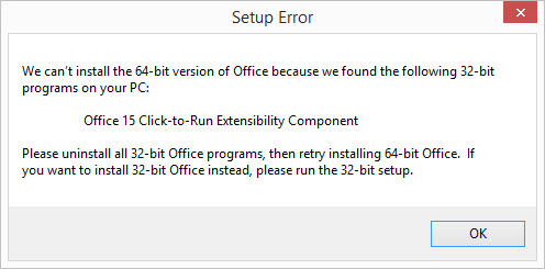 Office 2013 32 bit 64 bit installation error