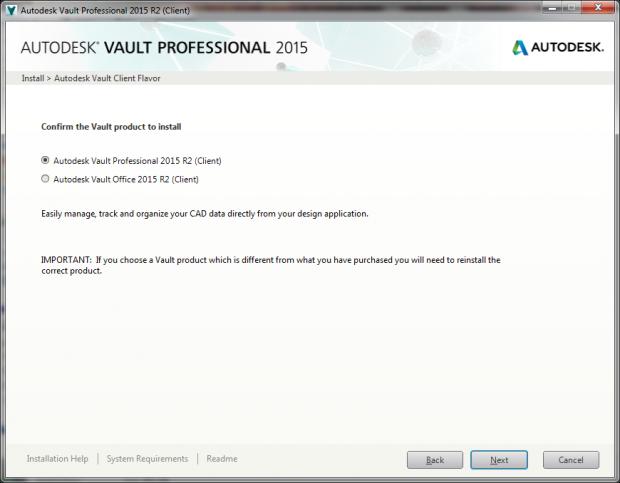 Autodesk Vault Client Flavor Installation Option