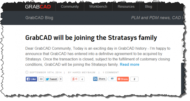 GrabCAD Purchased by Stratasys