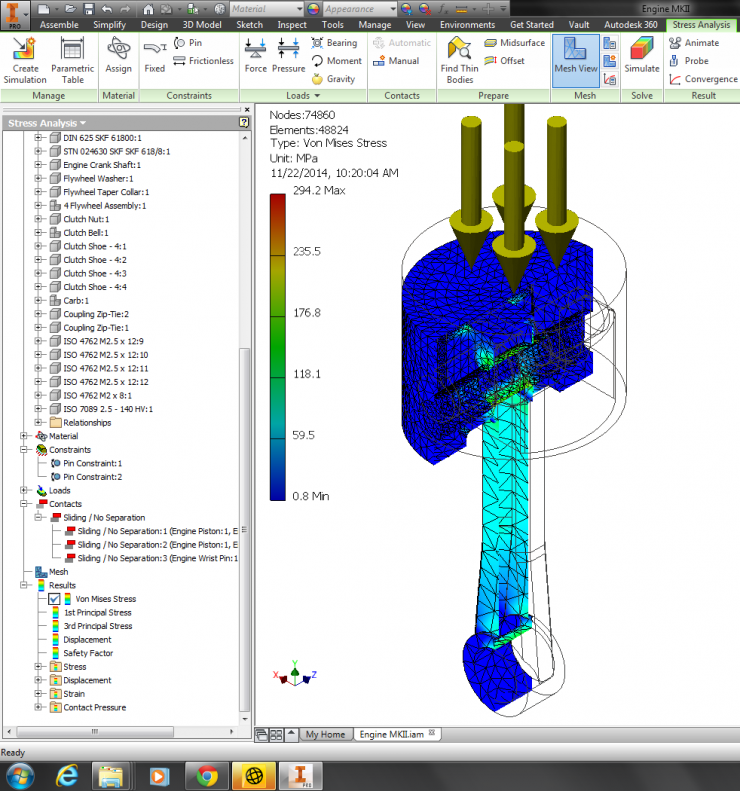 Autodesk Inventor 2015 Static Stress Results