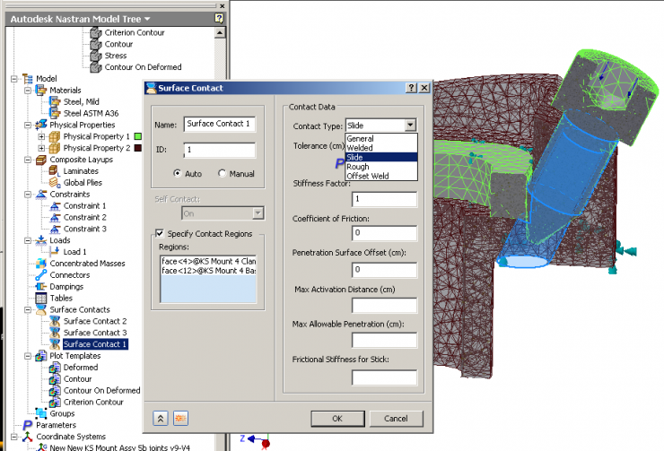 Autodesk Nastran In-CAD Contact Setup