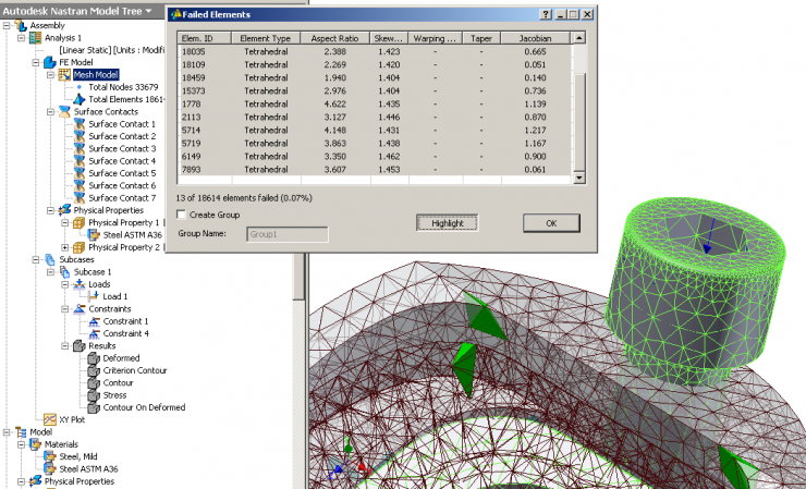 Autodesk Nastran In-CAD failed elements
