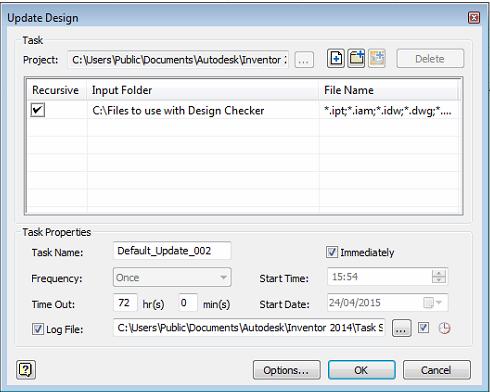 Inventor Design Checker - Task Run Immediately