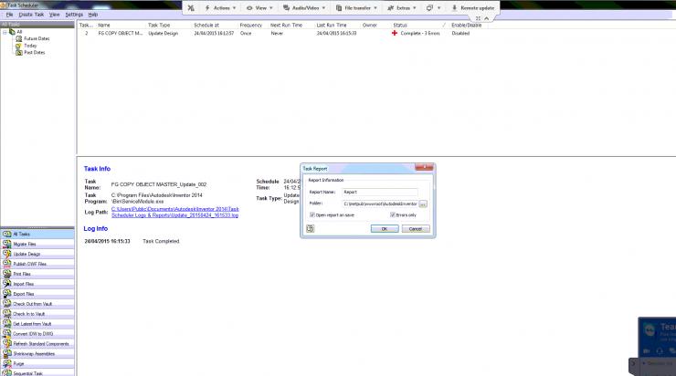 Inventor Design Checker - Task report filename