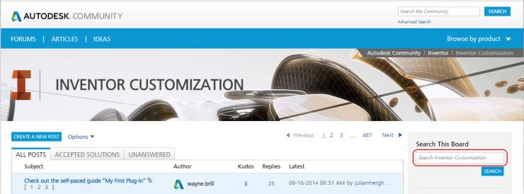 Inventor Customization Forums