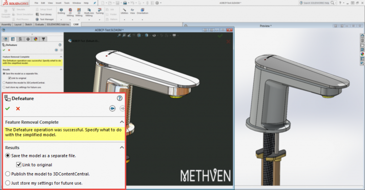 Solidworks 2016 Defeature - Link to Original