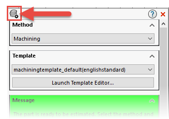 Solidworks Costing Task Pane Launch Options Dialog