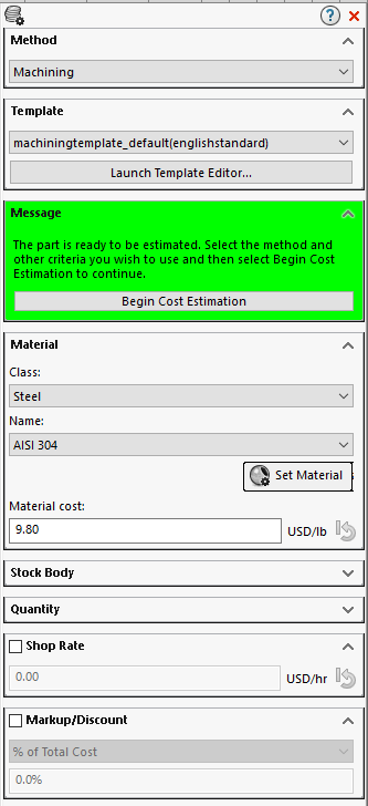Solidworks Costing Task Pane Machining