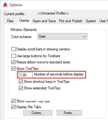 AutoCAD 2017 tool tip delay