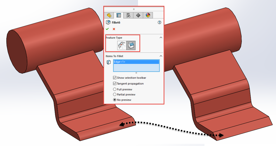 SOLIDWORKS 2017 Chamfer to Fillet