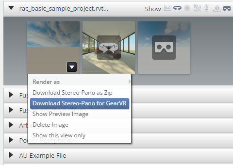 A360 Rendering Download Stereo for GearVR