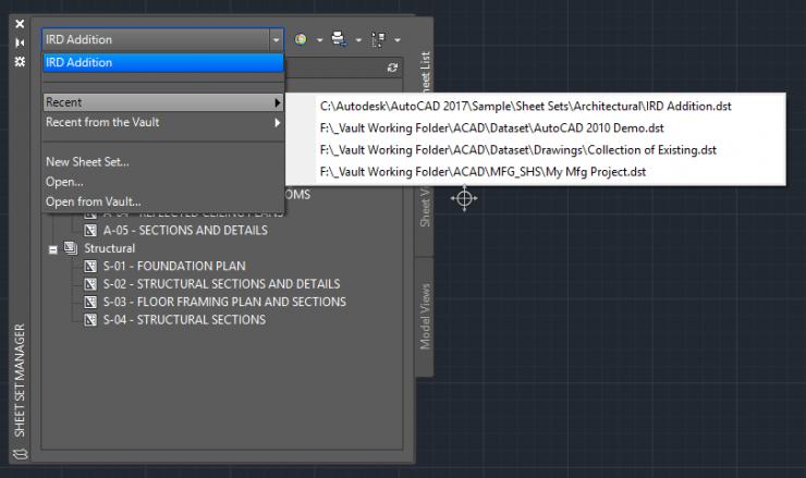 AutoCAD-Sheet-Set-Manager-Drop-Down