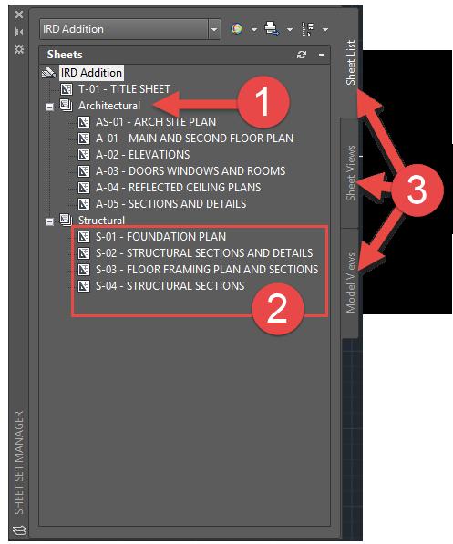 AutoCAD Sheet Sets Manager Organization