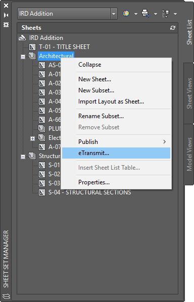 AutoCAD Sheet Set eTransmit Right Click Edit