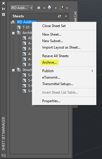 Sheet Set Manager Menu Archive