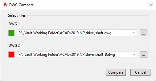 AutoCAD 2019 DWG Compare Dialog