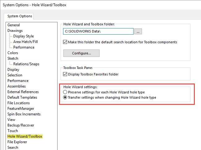 SOLIDWORKS 2018 Hole Wizard Settings