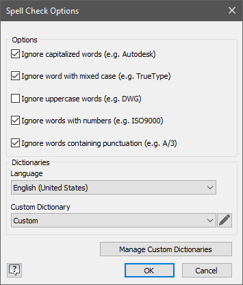 Inventor 2019.2 Spell Check Options