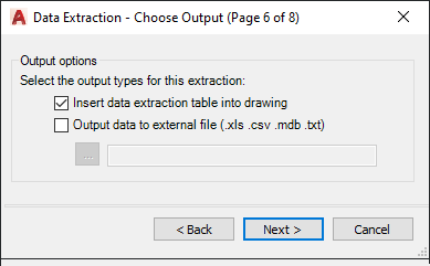 AutoCAD Data Extraction Choose Output