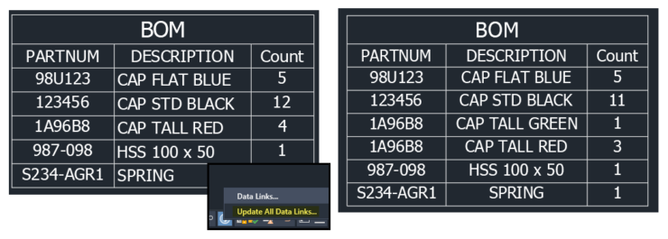 AutoCAD Update All Data Links